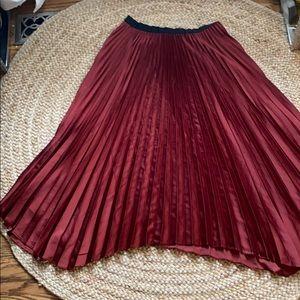 Zara brick asymmetrical midi pleat skirt